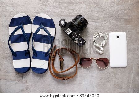 Summer Beach Accessories Slipper Camera Strap Sunglasses Mobile Phone Earphones