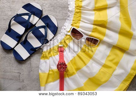 Summer Beach Accessories Slipper Skirt Hours Sunglasses