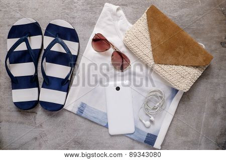 Summer Beach Accessories Slipper Clutch Shirt Sunglasses Mobile Phone Earphones
