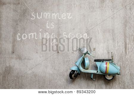 Text Summer Is Coming Soon Woodern Old Scooter