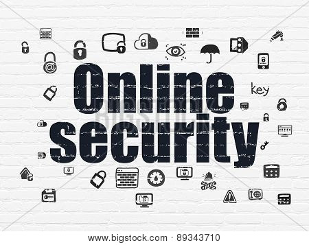 Security concept: Online Security on wall background