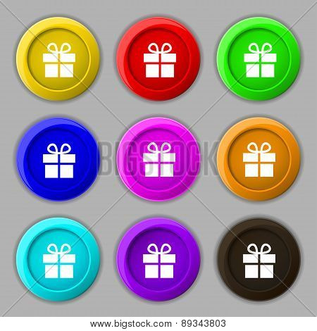 Gift Box Icon Sign. Symbol On Nine Round Colourful Buttons. Vector