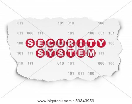 Privacy concept: Security System on Torn Paper background