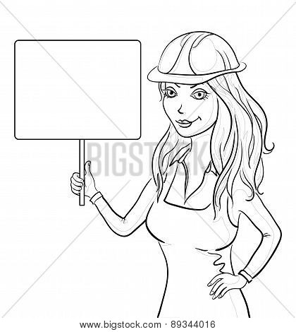 Girl worker holding a sign, contours
