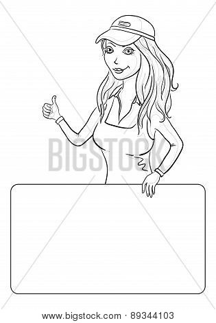 Girl with a poster, contour