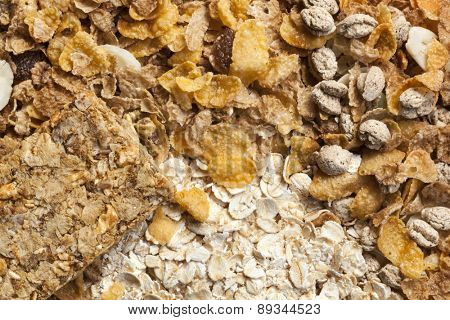 Healthy breakfast cereals.  Full-frame background, overhead view.