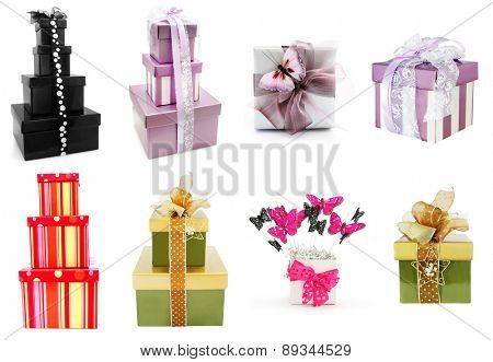 Gift boxes collection, isolated on white background.
