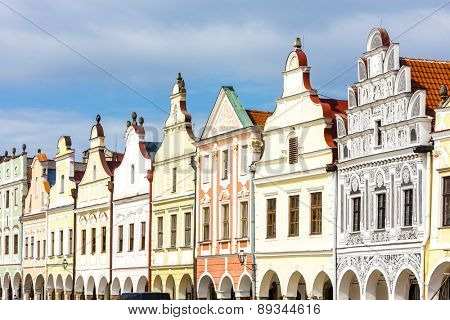 renaissance houses in Telc, Czech Republic