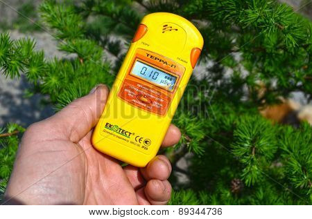 Near Kiev, Ukraine -April 29, 2015: Measuring radiation levels near after huge forest wildfire in Chernobyl Area on April 28. Kiev April 29,, 2015 Near Kiev, Ukraine.