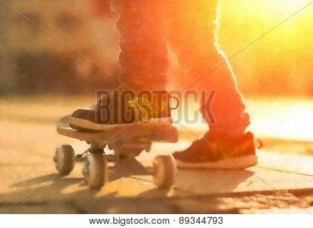 Child with skateboard on the street at sunset light, aquarelle art effect.