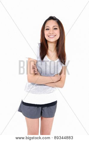 young pretty girl portrait, isolated