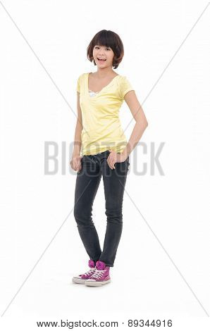 Full body young leisure woman in standing posing