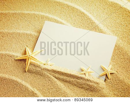 Empty white card with starfishes is lying on a sea sand summer sunny background