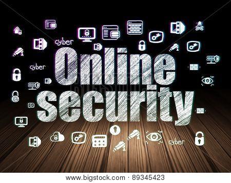 Safety concept: Online Security in grunge dark room