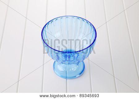 empty blue color salad or dessert bowl