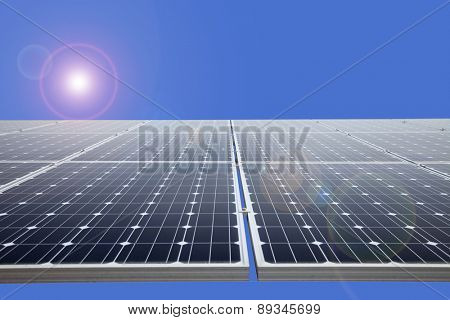 Solar power panel on the blue background