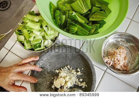 Ingredient for stir fried bok choy