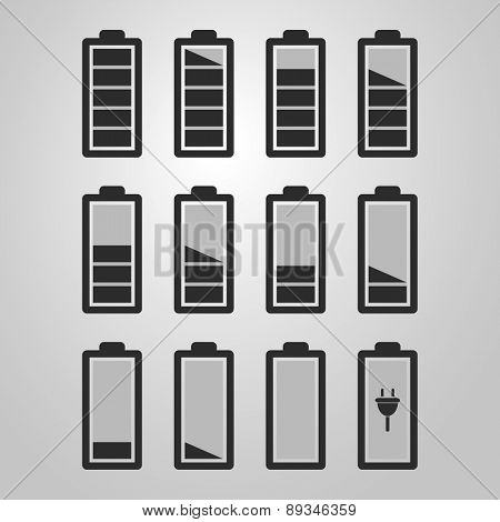Black and White Battery Icon Set Designs