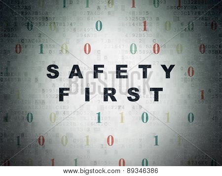 Privacy concept: Safety First on Digital Paper background