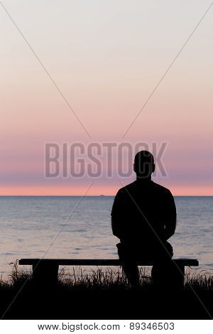 Lonely Man On Bench
