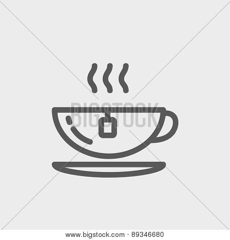 Hot tea in a cup icon thin line for web and mobile, modern minimalistic flat design. Vector dark grey icon on light grey background.