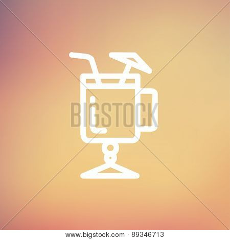 Cold ice tea with straw icon thin line for web and mobile, modern minimalistic flat design. Vector white icon on gradient mesh background.
