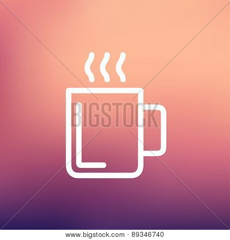 Mug of hot choco icon thin line for web and mobile, modern minimalistic flat design. Vector white icon on gradient mesh background.