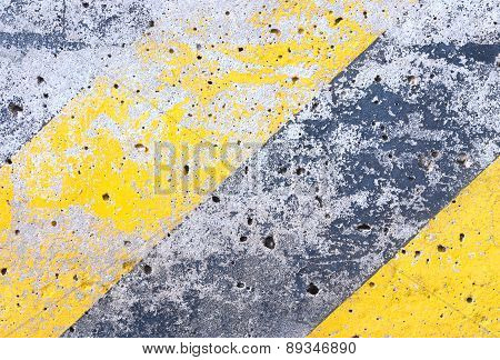 Grunge Cement Background With Old Yellow Line