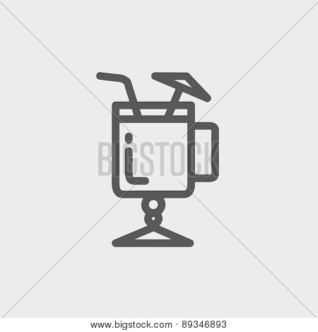 Cold ice tea with straw icon thin line for web and mobile, modern minimalistic flat design. Vector dark grey icon on light grey background.
