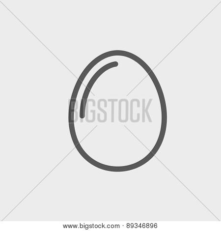 Egg icon thin line for web and mobile, modern minimalistic flat design. Vector dark grey icon on light grey background.