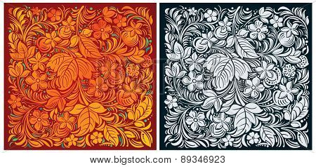 Russian traditional ornamental background color and monochrome