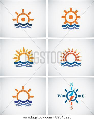 Set icons of sea navigation.