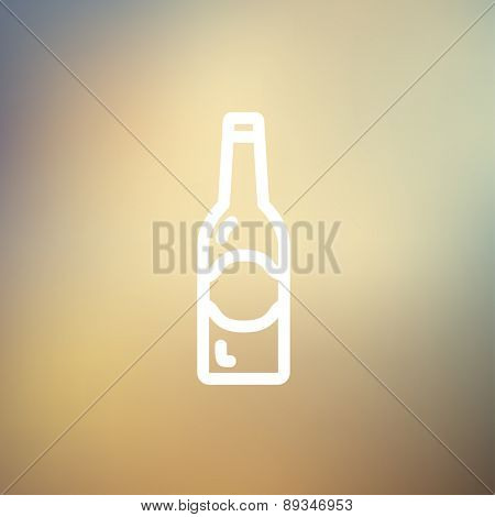 Light beer bottle icon thin line for web and mobile, modern minimalistic flat design. Vector white icon on gradient mesh background.