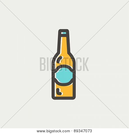 Light beer bottle icon thin line for web and mobile, modern minimalistic flat design. Vector icon with dark grey outline and offset colour on light grey background.