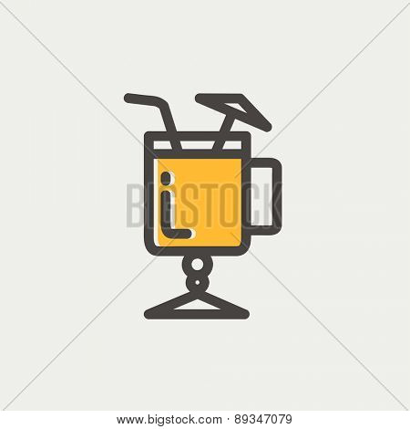 Cold ice tea with straw icon thin line for web and mobile, modern minimalistic flat design. Vector icon with dark grey outline and offset colour on light grey background.
