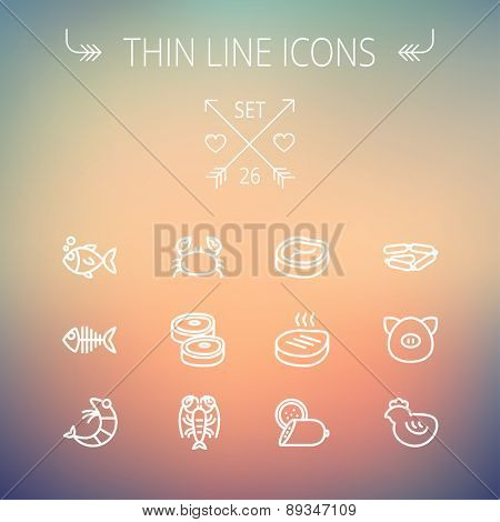Food and drink thin line icon set for web and mobile. Set includes-steak, sausages, fish, crab, shrimp, lobster icons. Modern minimalistic flat design. Vector white icon on gradient mesh background.