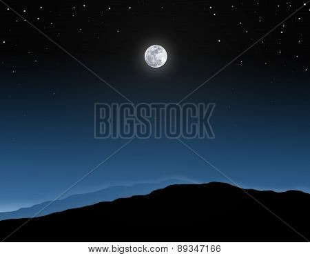 Full Moon Background. Full Moon On Night Sky With Starry