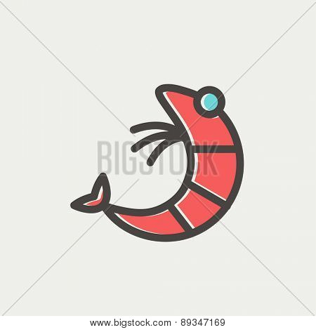 Shrimp icon thin line for web and mobile, modern minimalistic flat design. Vector icon with dark grey outline and offset colour on light grey background.