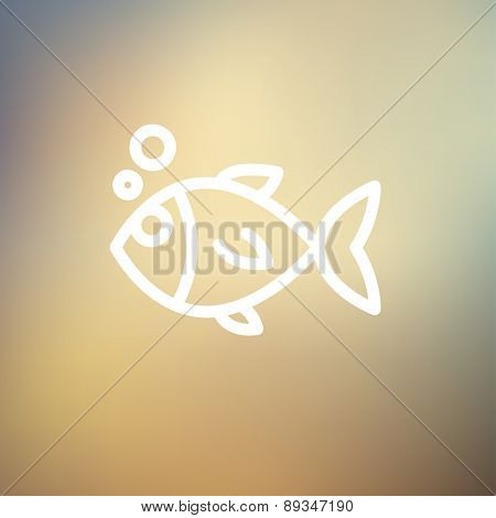 Little fish icon thin line for web and mobile, modern minimalistic flat design. Vector white icon on gradient mesh background.