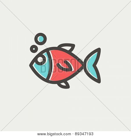 Little fish icon thin line for web and mobile, modern minimalistic flat design. Vector icon with dark grey outline and offset colour on light grey background.