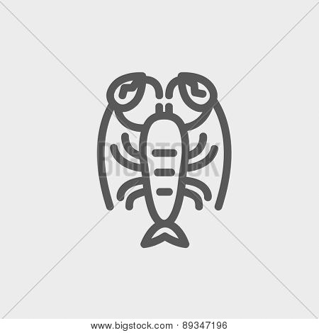 Lobster icon thin line for web and mobile, modern minimalistic flat design. Vector dark grey icon on light grey background.