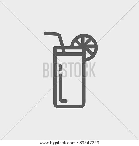 Orange juice glass with drinking straw icon thin line for web and mobile, modern minimalistic flat design. Vector dark grey icon on light grey background.