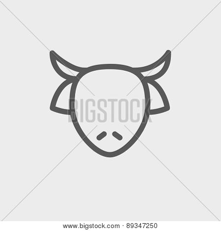 Cow head icon thin line for web and mobile, modern minimalistic flat design. Vector dark grey icon on light grey background.