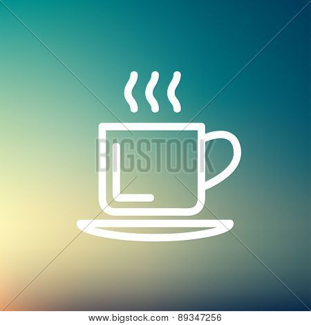 Cup of hot coffee icon thin line for web and mobile, modern minimalistic flat design. Vector white icon on gradient mesh background.