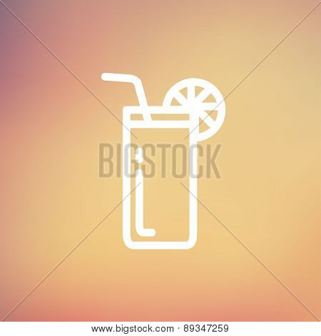 Orange juice glass with drinking straw icon thin line for web and mobile, modern minimalistic flat design. Vector white icon on gradient mesh background.