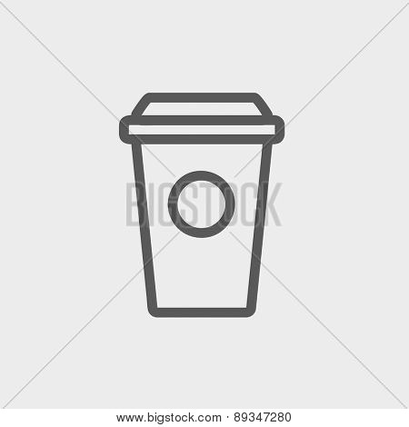 Disposable coffee cup icon thin line for web and mobile, modern minimalistic flat design. Vector dark grey icon on light grey background.