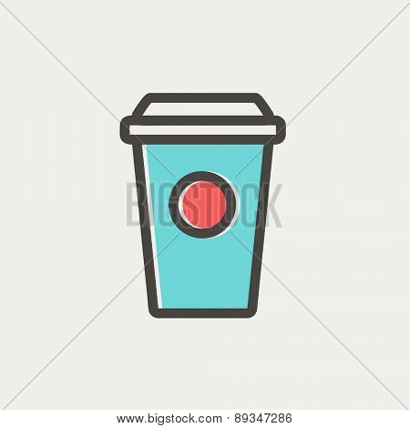 Disposable coffee cup icon thin line for web and mobile, modern minimalistic flat design. Vector icon with dark grey outline and offset colour on light grey background.