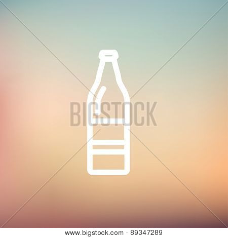 Soda bottle icon thin line for web and mobile, modern minimalistic flat design. Vector white icon on gradient mesh background.