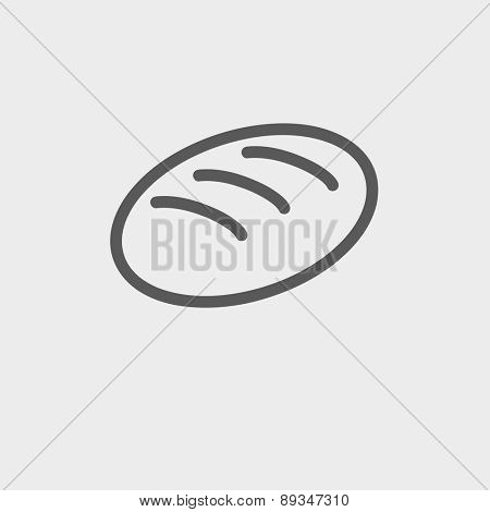 Bread icon thin line for web and mobile, modern minimalistic flat design. Vector dark grey icon on light grey background.