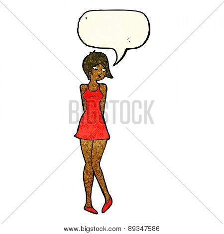 cartoon pretty woman in dress with speech bubble